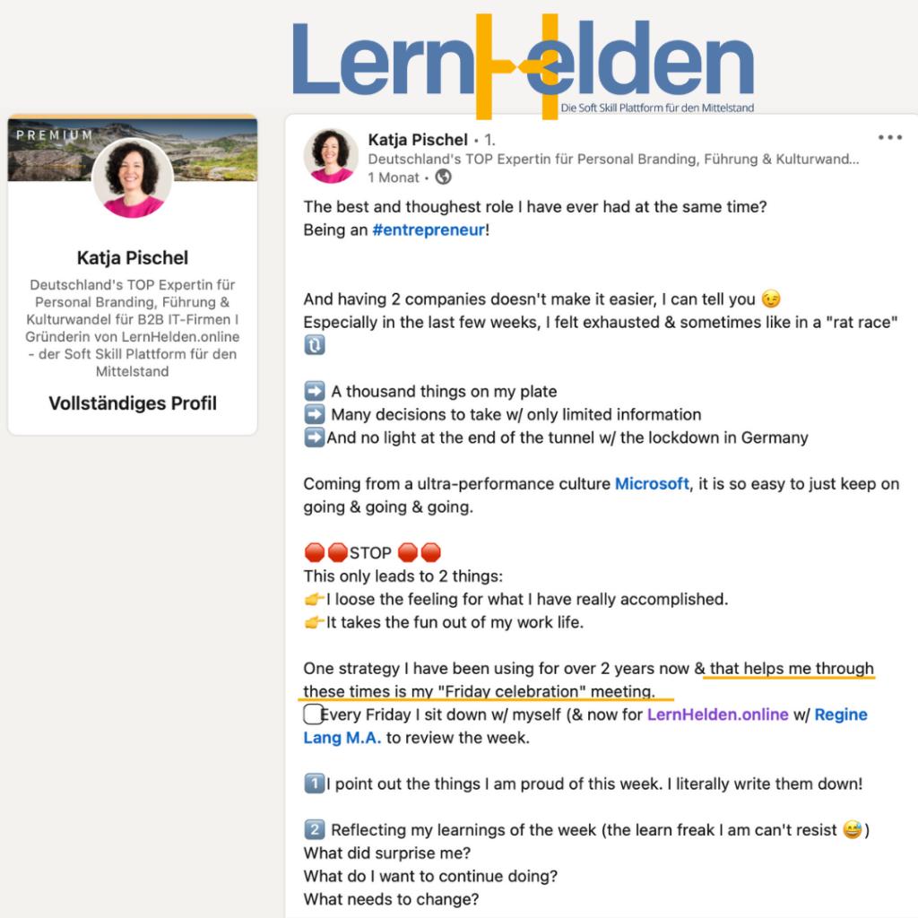 Katja Pischel postet auf LinkedIn über die Freitags Celebration